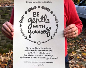 BE GENTLE With Yourself, Large Letterpress Art Print, Desiderata Wall Art, Inspirational Saying, Moon Phase, Folk Art Poster, Handlettering