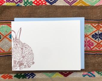 WILD BUNNY NOTECARDS, Set of 10 Flat Letterpress Notecards, Rabbit, Hare, Baby Bunny, Woodlands, Summer Garden, Appalachia, Nature, Animal