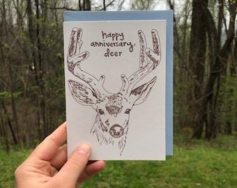 DEER ANNIVERSARY CARD, Woodland Appalachian Animal, Nature, Summer Love, Letterpress Greeting Card, Hand-drawn, Wild Buck, Antlers