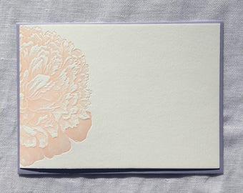 Peach Peony Letterpress Notecards