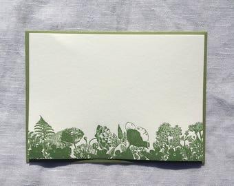 Green Feen Floral Letterpress Notecards