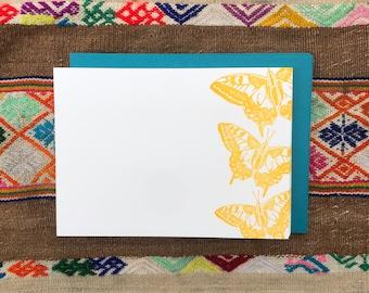 SWALLOWTAIL BUTTERFLY NOTECARDS, Set of 10 Flat Letterpress Notecards, Spring Summer, Woodlands,, Naturalist, Nature Lover