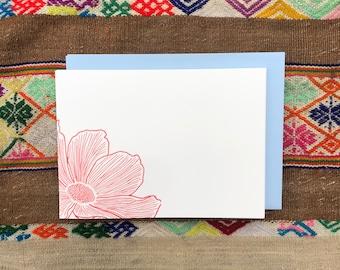 COSMOS FLOWER NOTECARDS, Set of 10 Flat Letterpress Notecards, Spring Summer Flora, Woodlands, Earthly Treasure, Naturalist, Nature Lover