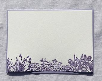 Purple Floral Letterpress Notecards