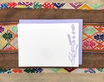 LAVENDER HERB NOTECARDS, Set of 10 Flat Letterpress Notecards, Spring Summer, Garden Herb, Herbalist, Herbal Medicine, Nature, Purple