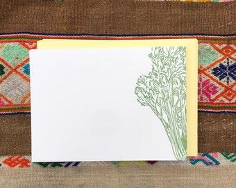 CELERY PLANT NOTECARDS, Set of 10 Flat Letterpress Notecards, Spring Summer, Garden, Grower, Nature Lover, Chef, Foodie, Vegetarian