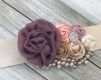 Bridal Sash belt in Dusty Lavender, Champagne, Dusty Rose , Peach, Antique Gold and Ivory cream Rosette Sash with beautiful pearls...
