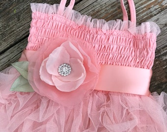 Gorgeous Peach Tulle Party Dress with sash belt... First Birthday Outfit, Flowergirl, Portraits or any occasion dress!