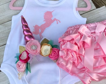 Unicorn Pink First Birthday Outfit, Satin Ruffled Bloomers, Headband, Onesie, First Birthday Outfit, Baby Unicorn!