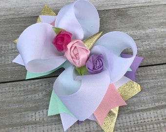 Pastels and Gold Unicorn Hair bow... Baby Girl Toddler  Girls - Birthday Great Photo Prop Dress up