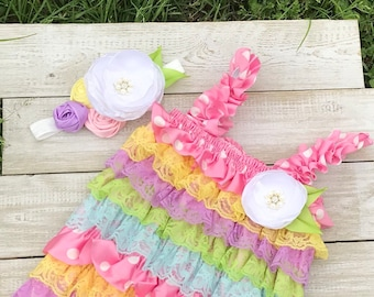 Spring pastel lace and satin pink polka dot romper and rosette headband set!