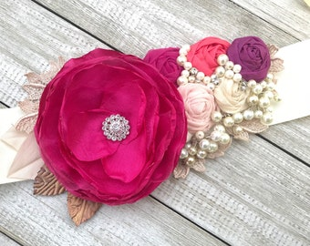 Bridal Sash in Fuchsia, Blush, Pink, Sangria, Ivory cream and Bridal White Rosette Sash with beautiful pearlsand rhinestones.
