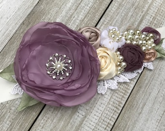 Beautiful Bridal Sash belt in Dusty Lavender, Lilac, Ivory, Champagne & Bridal White Rosettes with beautiful pearl,rhinestones and lace