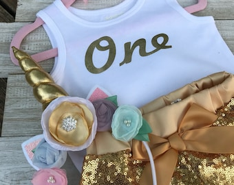 Unicorn Gold First Birthday Outfit, Sequin Shorts, Headband, Onesie, First Birthday Outfit, Baby Unicorn!