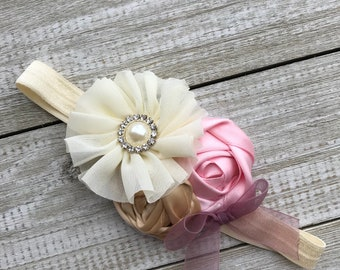 Pink, Ivory, Champagne and Dusty Muave Rosette Headband Newborn / Baby Girl Toddler  - Great Photo Prop