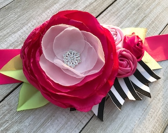 Kate Bridal - Maternity sash belt in Fuchsia,  Black and White Stripes and Gold. Rosette sash, photo prop, prom, baby shower, wedding, prom