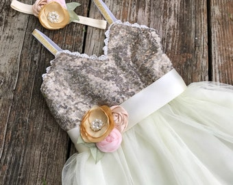 Gold Sequin and Ivory Tulle Party Dress , Flower Girl, Shabby Wedding, Country Chic, First Birthday , Birthday... Headband and Sash....