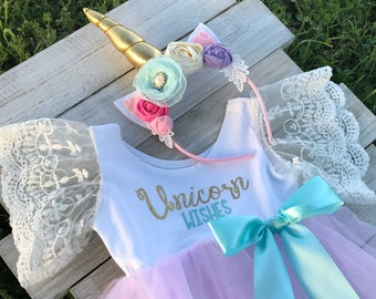 Unicorn Wishes Birthday Romper. Unicorn First Birthday Outfit, Baby Unicorn!