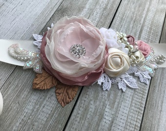 Beautiful Bridal Sash belt in Dusty Rose, Pinks, Ivory & Bridal White Rosettes with beautiful pearl,rhinestones and antique gold accents...