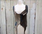 Recycled stretch patchwork olive and beige denim corset top with front zipper SZ M-L