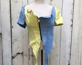 Recycled selvage stretch patchwork colorful denim short sleeve corset top with front zip SZ L