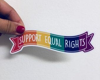 support equal rights banner vinyl sticker