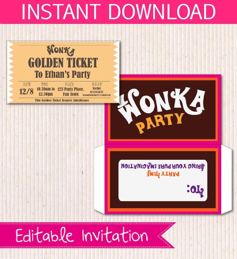 Willy Wonka Birthday Invite DIY Printable