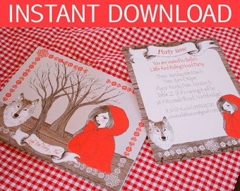 Little Red Riding Hood Invitation DIY Printable - INSTANT DOWNLOAD