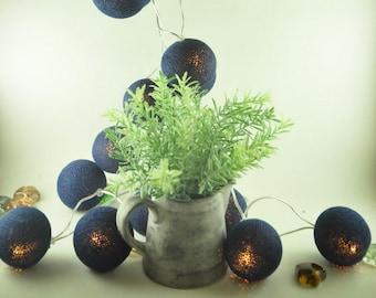 Vintage Navy Blue cotton ball Fairy String Lights, String lights, Fairy Lights, Bedroom Lights  for Party,Wedding Garden decor, Light Decor