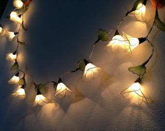 White Himalayas flower with leaf string lights for Patio,Wedding,Party and Decoration, fairy lights