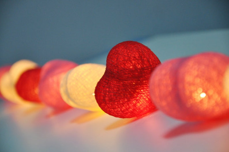 Sweet colour cotton heart string lights for image 0