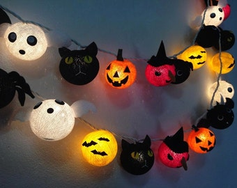 Halloween set cotton ball string lights Cotton ball fairy lights for Halloween night, Halloween Lights, Party Lights, Kids Party