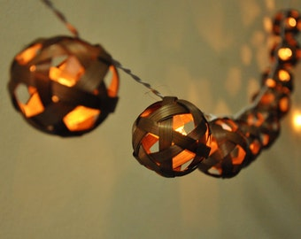 Brown Bamboo ball string lights for Patio,Wedding,Party and Decoration, fairy lights