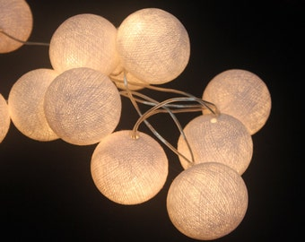 20 Bulbs On-Off Switch : Handmade White cotton ball string lights for Patio,Wedding,Party, Christmas Light, Party Lights and Decoration