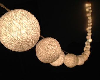 On-Off Switch : Handmade White cotton ball string lights for Patio,Wedding,Party, Christmas Light, Party Lights and Decoration (35 Bulbs)