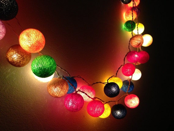 20 bulbs carnival night light cotton ball string lights for etsy