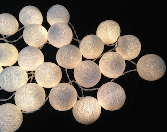 On-Off Switch : Handmade White cotton ball string lights for Patio,Wedding,Party, Christmas Light, Party Lights and Decoration (20 Bulbs)