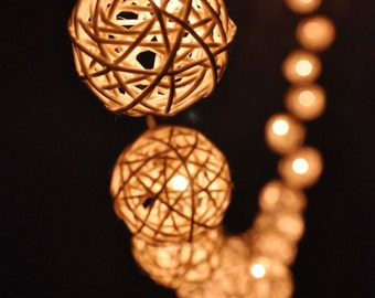Handmade fairy lights Classic White Rattan ball string lights for Patio,Wedding,Party, Christmas Light, Party Lights and Decoration