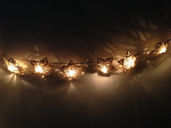official photos 94cad c5c59 White Rattan star string lights for Patio,Wedding,Party and Decoration (20  bulbs), fairy lights