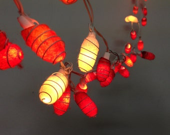 35 bulbs - Handmade Earth tones Cocoon  string lights for Patio,Wedding,Party and Decoration, fairy lights