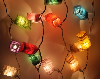 Colourful mulberry paper Geometry spring Lanterns for party & decoration, fairy lights