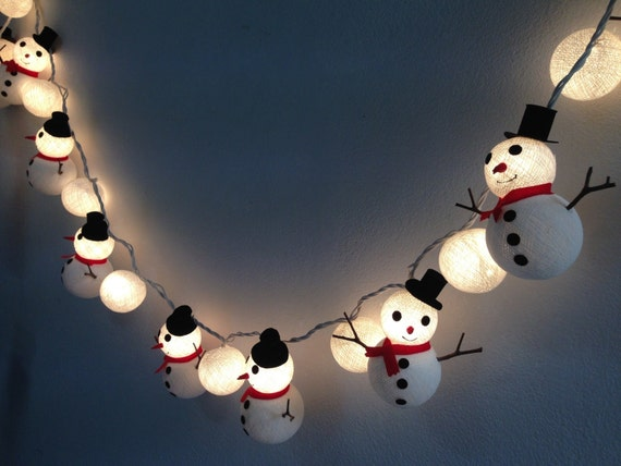 Christmas set Snowman & Snowball cotton ball string lights for | Etsy