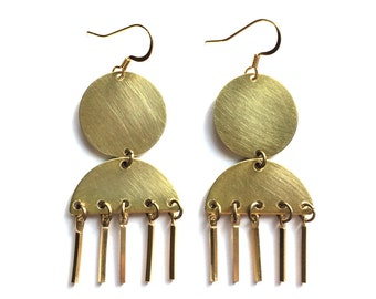 Minimal Circle Bar Earrings, Brass Statement Jewelry, Modern Geometric Dangle Earrings, Unique Jewelry Gift, Stocking Stuffer Jewelry