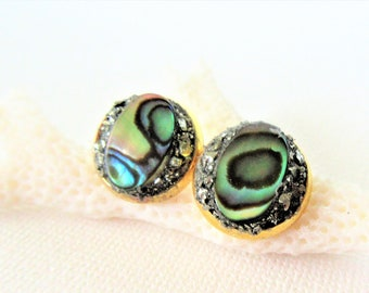 Abalone Earrings - Abalone Jewelry - Shell Earrings -  Minimalist Jewelry - Paua Shell Earrings - Stud Earrings - Mothers Day Gift -