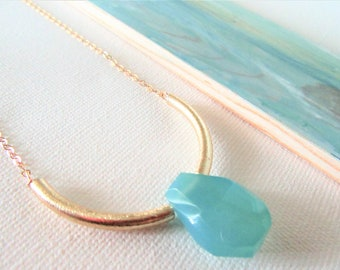 Aqua Chalcedony Necklace / Chalcedony Jewelry / Chalcedony Pendant / Gold Chalcedony Necklace /  Blue Necklace / Gift For Her / Women Gift
