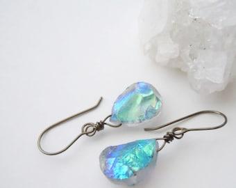 Raw Crystal Earrings, Raw Gemstone Earrings, Bridesmaid Gift, Aura Quarzt Dangles, Boho Jewelry, Raw Stone Earrings, Natural Glam Jewelry