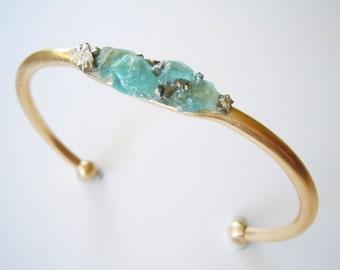 Raw Gemstone Cuff Bracelet- Neone Blue Apatite Gemstone Inlaid - Raw Crystal -Mineral Jewelry