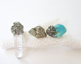Mismatched Earrings, Mix Match Earring, Stud Earring Trio, Raw Stone Jewelry, Crystal Jewelry, Raw Turquoise, Pyrite Earrings