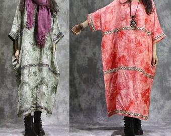 709cb6cbf01 ZEN Quirky Baggy Linen TUNIC DRESS Plus Size 18 20 22 24 26 Kaftan Lagenlook  Green Red z6