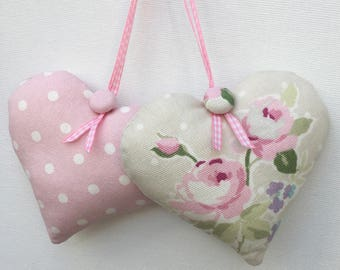 Pair of Heart Door Hangers, Fabric Hearts, Hanging Hearts, Beige and Pink Floral and Pink Polka Dot Heart, Decorative Hearts, cottage Chic